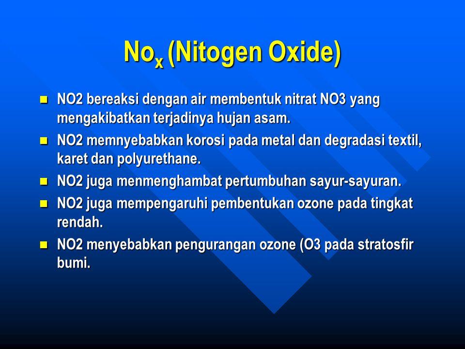 No x (Nitogen Oxide) NO2 bereaksi dengan air membentuk nitrat NO3 yang mengakibatkan terjadinya hujan asam. NO2 bereaksi dengan air membentuk nitrat N