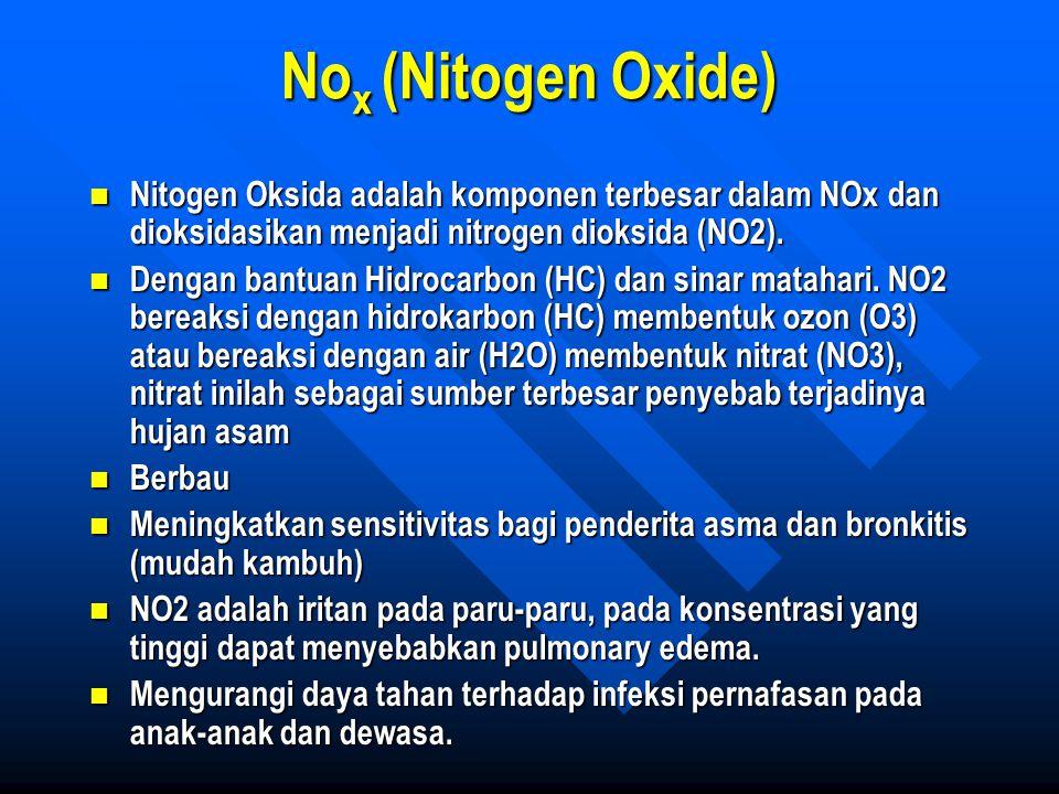 No x (Nitogen Oxide) Nitogen Oksida adalah komponen terbesar dalam NOx dan dioksidasikan menjadi nitrogen dioksida (NO2). Nitogen Oksida adalah kompon