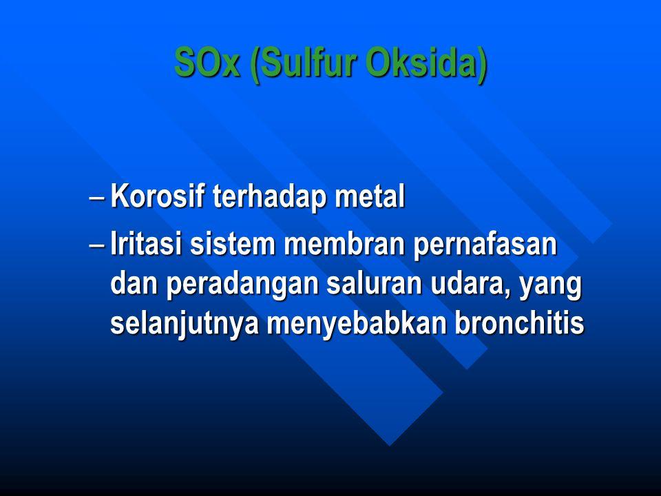 SOx (Sulfur Oksida) – Korosif terhadap metal – Iritasi sistem membran pernafasan dan peradangan saluran udara, yang selanjutnya menyebabkan bronchitis