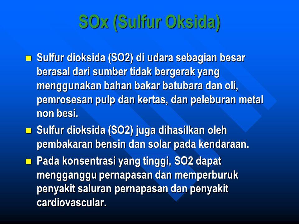 SOx (Sulfur Oksida) Sulfur dioksida (SO2) di udara sebagian besar berasal dari sumber tidak bergerak yang menggunakan bahan bakar batubara dan oli, pe