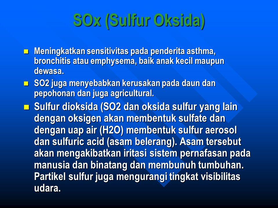 SOx (Sulfur Oksida) Meningkatkan sensitivitas pada penderita asthma, bronchitis atau emphysema, baik anak kecil maupun dewasa. Meningkatkan sensitivit