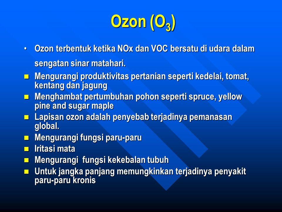 Ozon (O 3 ) Ozon terbentuk ketika NOx dan VOC bersatu di udara dalam sengatan sinar matahari. Ozon terbentuk ketika NOx dan VOC bersatu di udara dalam