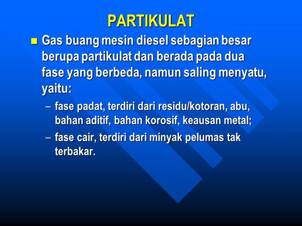 PARTIKULAT Gas buang mesin diesel sebagian besar berupa partikulat dan berada pada dua fase yang berbeda, namun saling menyatu, yaitu: Gas buang mesin