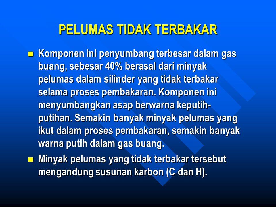 PELUMAS TIDAK TERBAKAR Komponen ini penyumbang terbesar dalam gas buang, sebesar 40% berasal dari minyak pelumas dalam silinder yang tidak terbakar se