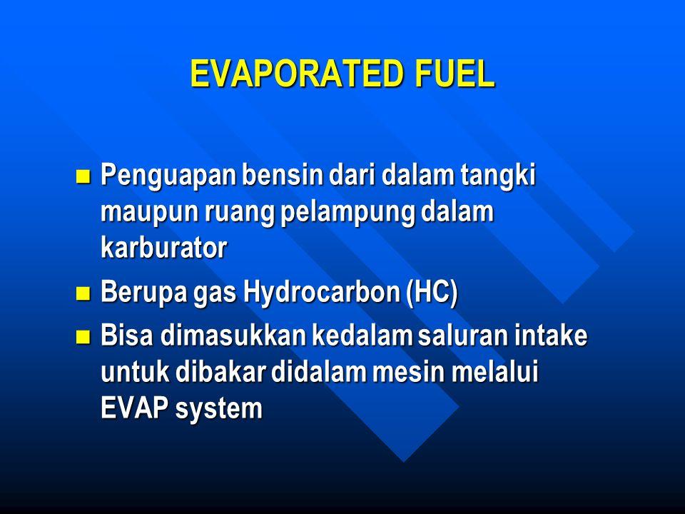 EVAPORATED FUEL Penguapan bensin dari dalam tangki maupun ruang pelampung dalam karburator Penguapan bensin dari dalam tangki maupun ruang pelampung d