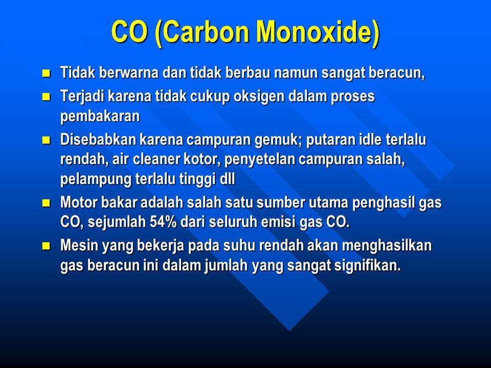 CO (Carbon Monoxide) Tidak berwarna dan tidak berbau namun sangat beracun, Tidak berwarna dan tidak berbau namun sangat beracun, Terjadi karena tidak