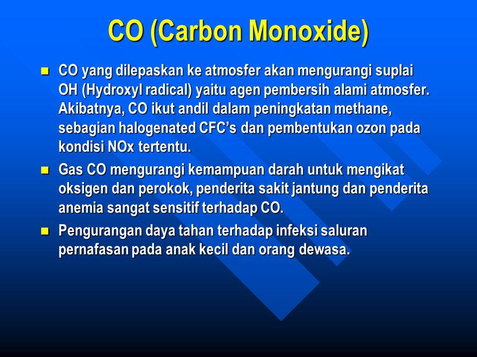 CO (Carbon Monoxide) CO yang dilepaskan ke atmosfer akan mengurangi suplai OH (Hydroxyl radical) yaitu agen pembersih alami atmosfer. Akibatnya, CO ik