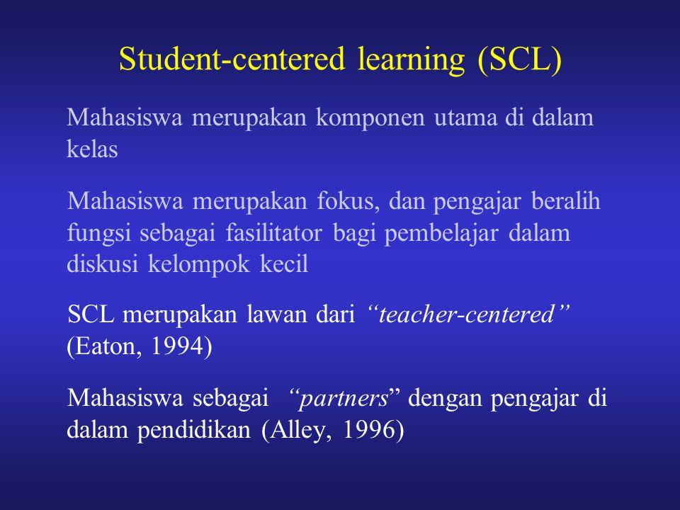 Student-centered learning (SCL) Mahasiswa merupakan komponen utama di dalam kelas Mahasiswa merupakan fokus, dan pengajar beralih fungsi sebagai fasil