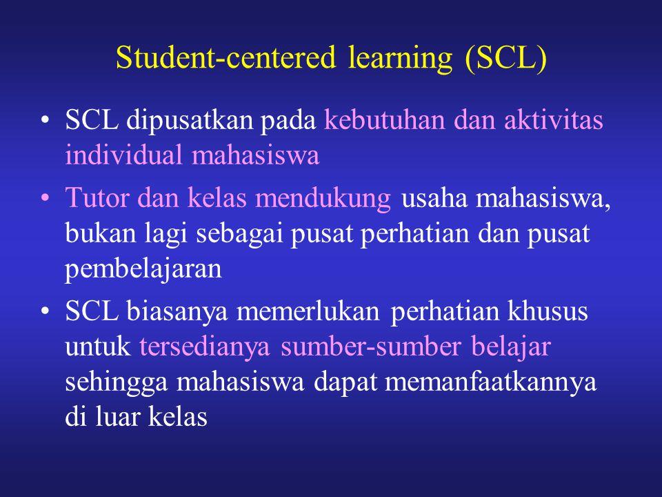 SCL dipusatkan pada kebutuhan dan aktivitas individual mahasiswa Tutor dan kelas mendukung usaha mahasiswa, bukan lagi sebagai pusat perhatian dan pus