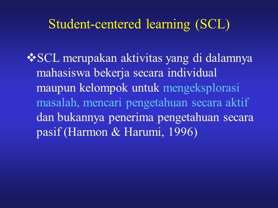  SCL merupakan aktivitas yang di dalamnya mahasiswa bekerja secara individual maupun kelompok untuk mengeksplorasi masalah, mencari pengetahuan secar