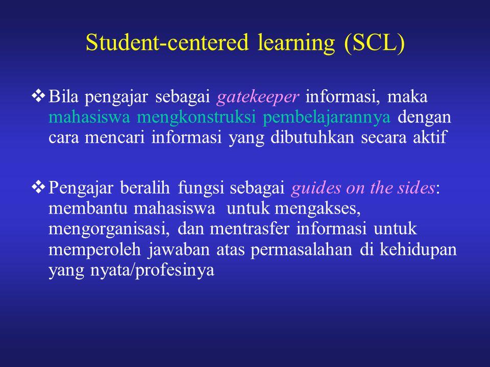  Bila pengajar sebagai gatekeeper informasi, maka mahasiswa mengkonstruksi pembelajarannya dengan cara mencari informasi yang dibutuhkan secara aktif