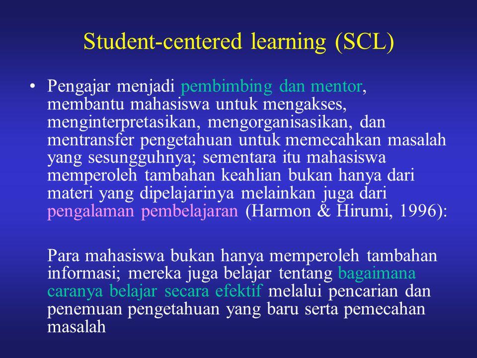 Pengajar menjadi pembimbing dan mentor, membantu mahasiswa untuk mengakses, menginterpretasikan, mengorganisasikan, dan mentransfer pengetahuan untuk
