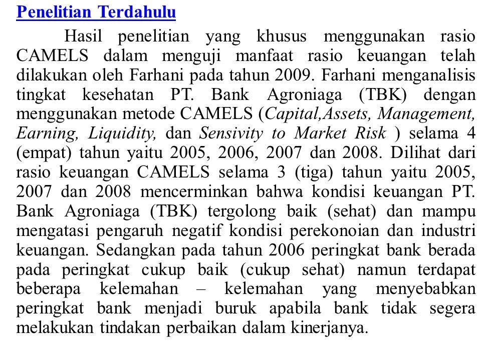 Penelitian Terdahulu Hasil penelitian yang khusus menggunakan rasio CAMELS dalam menguji manfaat rasio keuangan telah dilakukan oleh Farhani pada tahu