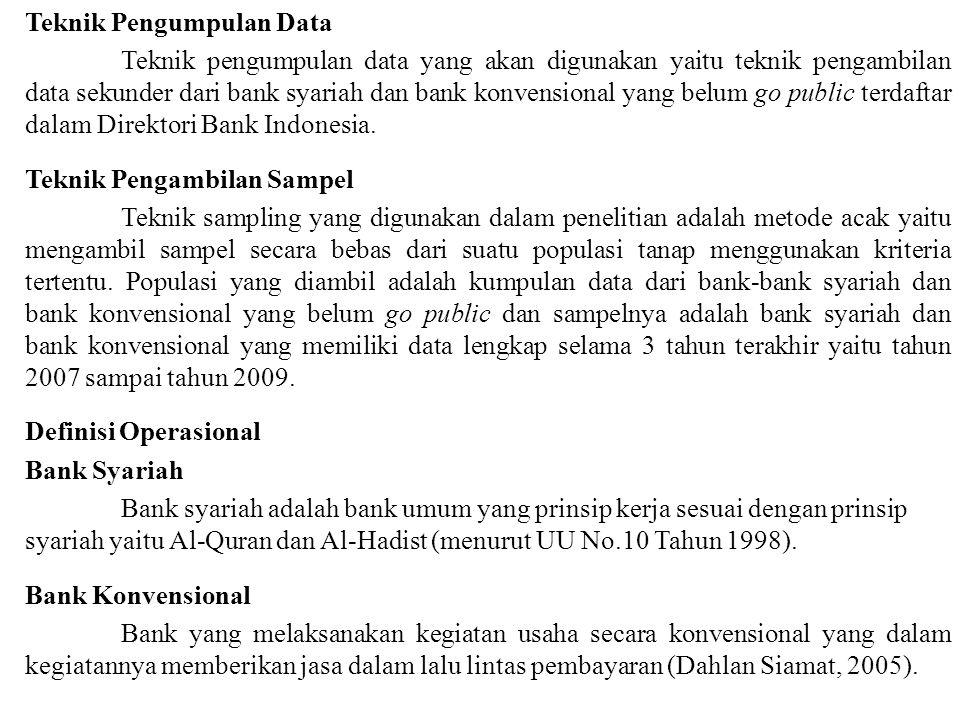 Teknik Pengumpulan Data Teknik pengumpulan data yang akan digunakan yaitu teknik pengambilan data sekunder dari bank syariah dan bank konvensional yan