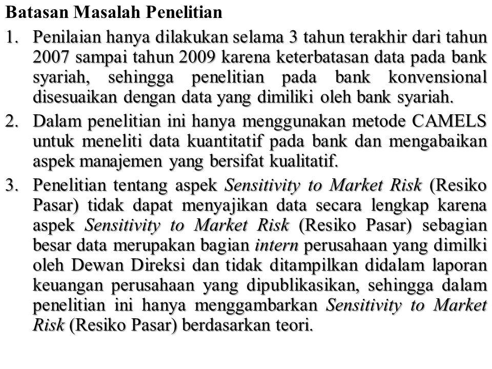 Rumusan Masalah Penelitian  Dari latar belakang diatas maka dirumuskan masalah penelitian sebagai berikut :  Bagaimana kesehatan bank syariah dan bank konvensional yang belum go public di Indonesia berdasarkan metode CAMELS.