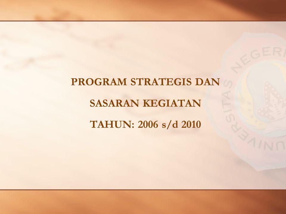 PROGRAM STRATEGIS DAN SASARAN KEGIATAN TAHUN: 2006 s/d 2010