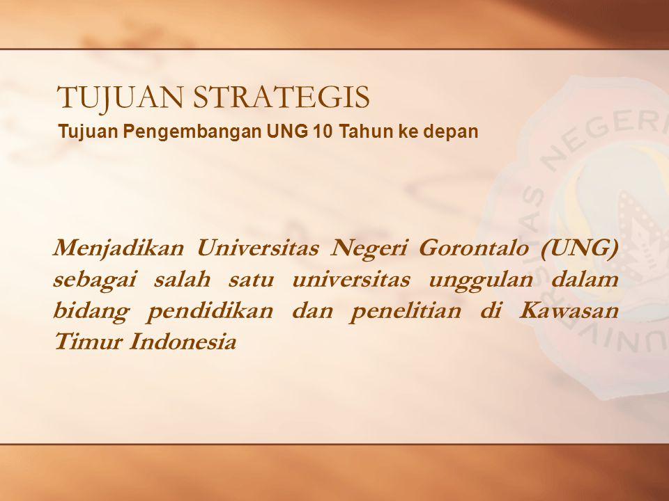 TUJUAN STRATEGIS Menjadikan Universitas Negeri Gorontalo (UNG) sebagai salah satu universitas unggulan dalam bidang pendidikan dan penelitian di Kawasan Timur Indonesia Tujuan Pengembangan UNG 10 Tahun ke depan
