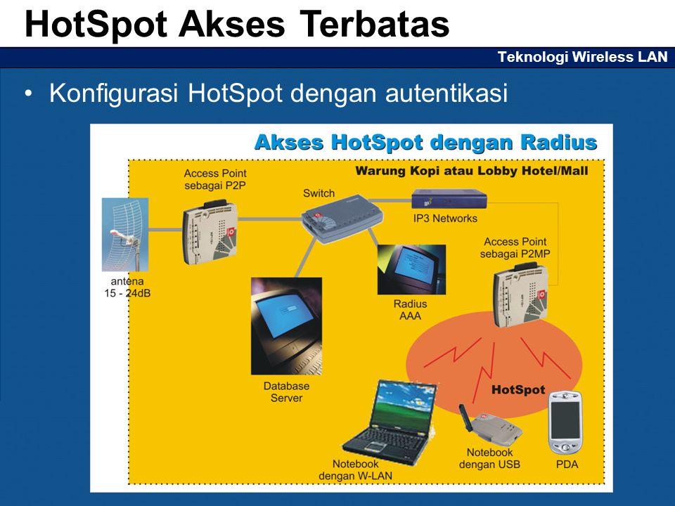 Teknologi Wireless LAN Konfigurasi HotSpot dengan autentikasi HotSpot Akses Terbatas