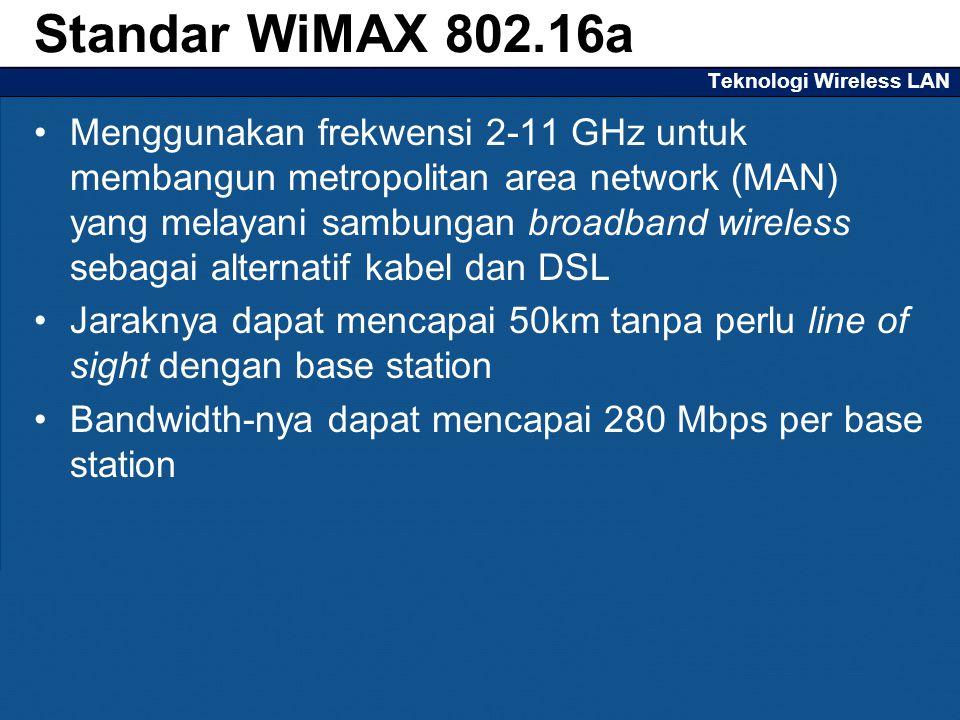 Teknologi Wireless LAN Menggunakan frekwensi 2-11 GHz untuk membangun metropolitan area network (MAN) yang melayani sambungan broadband wireless sebagai alternatif kabel dan DSL Jaraknya dapat mencapai 50km tanpa perlu line of sight dengan base station Bandwidth-nya dapat mencapai 280 Mbps per base station Standar WiMAX 802.16a