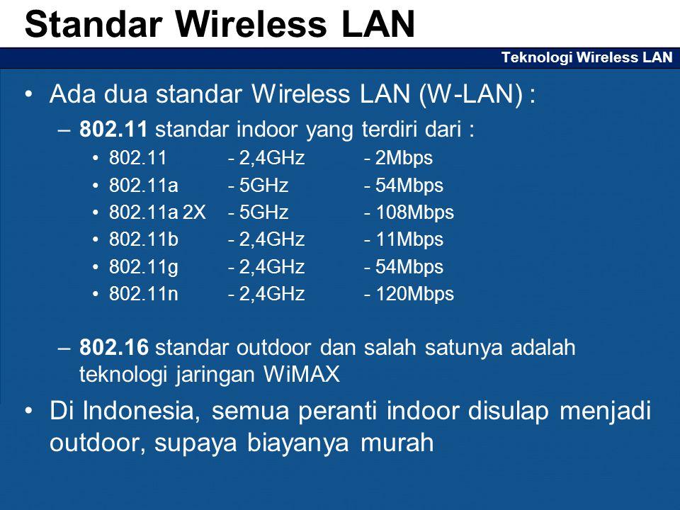 Teknologi Wireless LAN Ada dua standar Wireless LAN (W-LAN) : –802.11 standar indoor yang terdiri dari : 802.11 - 2,4GHz - 2Mbps 802.11a - 5GHz - 54Mbps 802.11a 2X - 5GHz - 108Mbps 802.11b - 2,4GHz - 11Mbps 802.11g - 2,4GHz - 54Mbps 802.11n - 2,4GHz - 120Mbps –802.16 standar outdoor dan salah satunya adalah teknologi jaringan WiMAX Di Indonesia, semua peranti indoor disulap menjadi outdoor, supaya biayanya murah Standar Wireless LAN