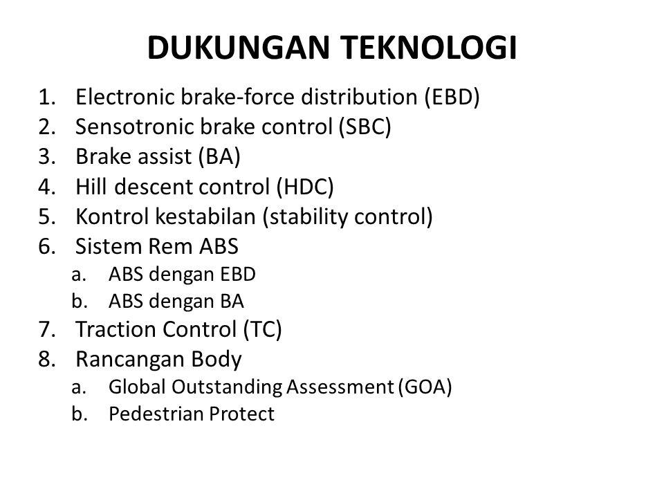 DUKUNGAN TEKNOLOGI 1.Electronic brake-force distribution (EBD) 2.Sensotronic brake control (SBC) 3.Brake assist (BA) 4.Hill descent control (HDC) 5.Kontrol kestabilan (stability control) 6.Sistem Rem ABS a.ABS dengan EBD b.ABS dengan BA 7.Traction Control (TC) 8.Rancangan Body a.Global Outstanding Assessment (GOA) b.Pedestrian Protect