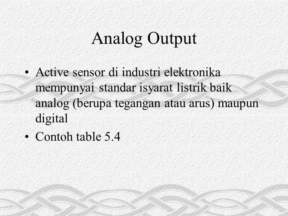 Analog Output Active sensor di industri elektronika mempunyai standar isyarat listrik baik analog (berupa tegangan atau arus) maupun digital Contoh table 5.4