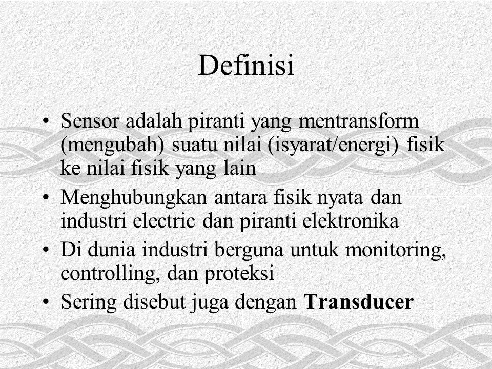 Definisi Sensor adalah piranti yang mentransform (mengubah) suatu nilai (isyarat/energi) fisik ke nilai fisik yang lain Menghubungkan antara fisik nya