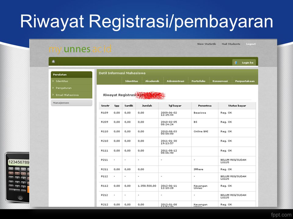 Riwayat Registrasi/pembayaran