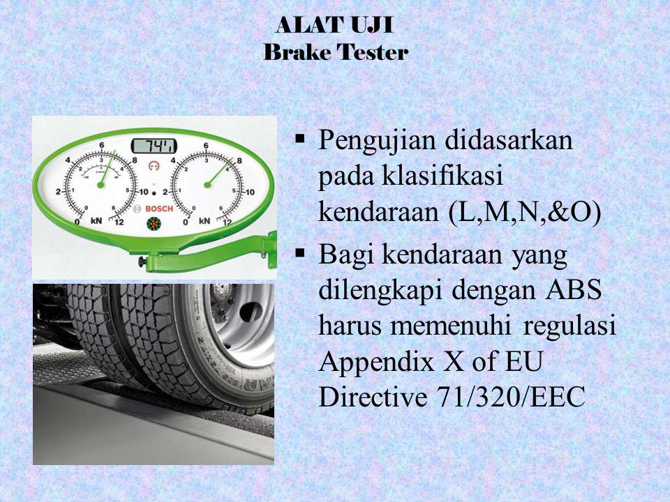  Pengujian didasarkan pada klasifikasi kendaraan (L,M,N,&O)  Bagi kendaraan yang dilengkapi dengan ABS harus memenuhi regulasi Appendix X of EU Dire
