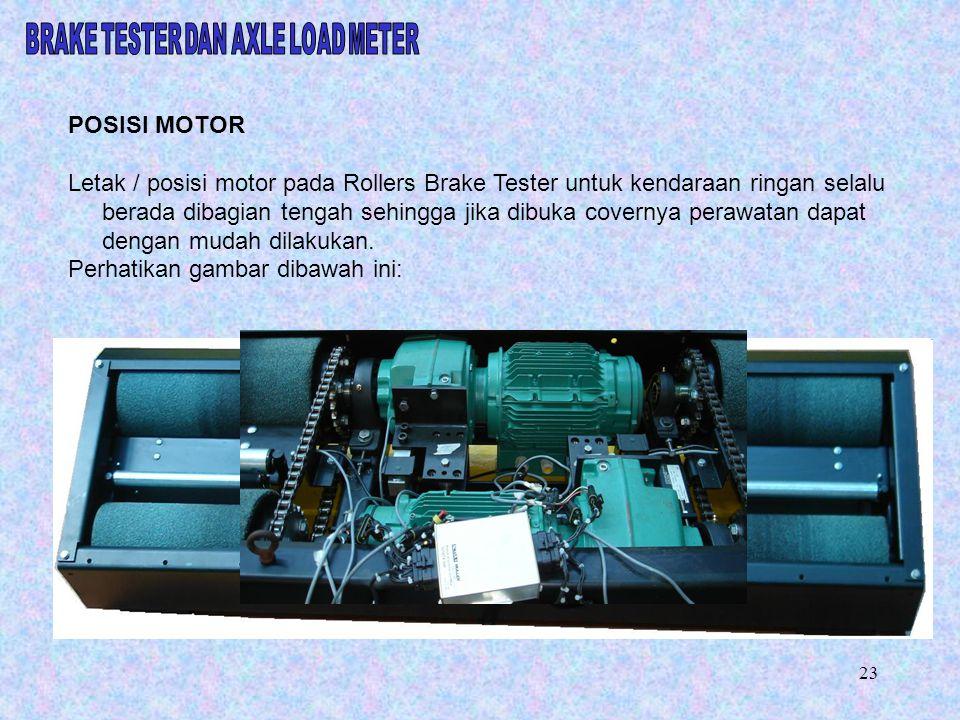 POSISI MOTOR Letak / posisi motor pada Rollers Brake Tester untuk kendaraan ringan selalu berada dibagian tengah sehingga jika dibuka covernya perawat