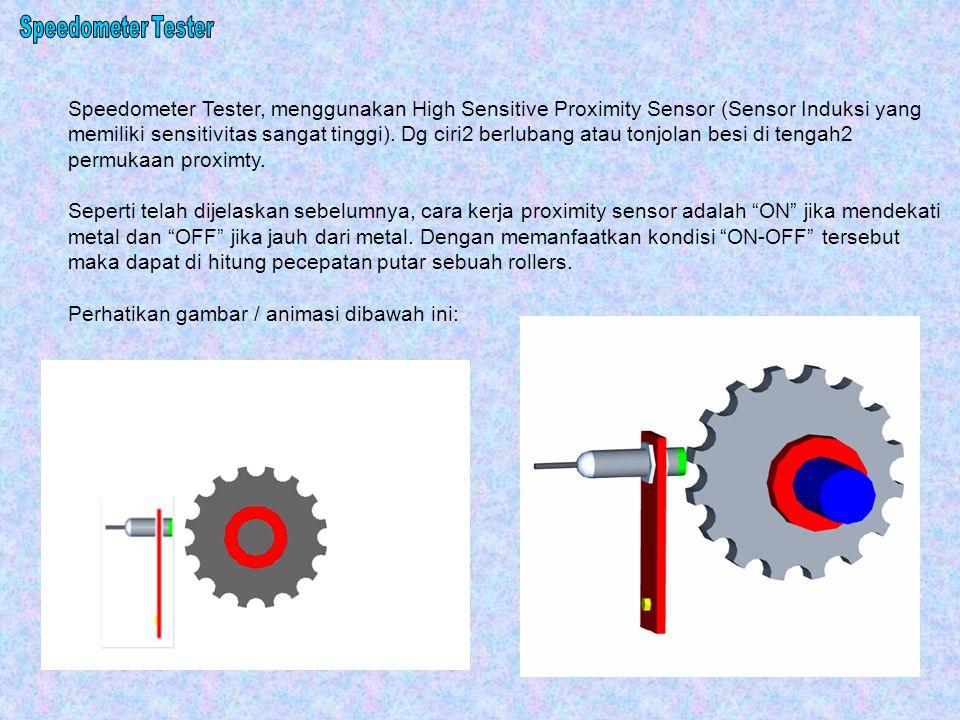 Speedometer Tester, menggunakan High Sensitive Proximity Sensor (Sensor Induksi yang memiliki sensitivitas sangat tinggi). Dg ciri2 berlubang atau ton