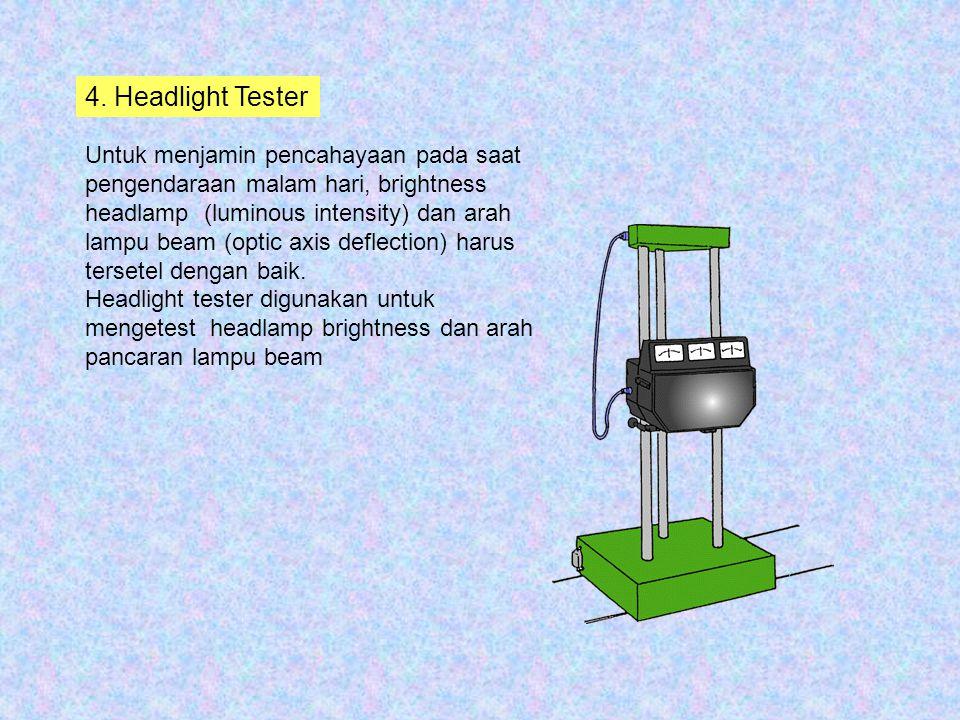 4. Headlight Tester Untuk menjamin pencahayaan pada saat pengendaraan malam hari, brightness headlamp (luminous intensity) dan arah lampu beam (optic