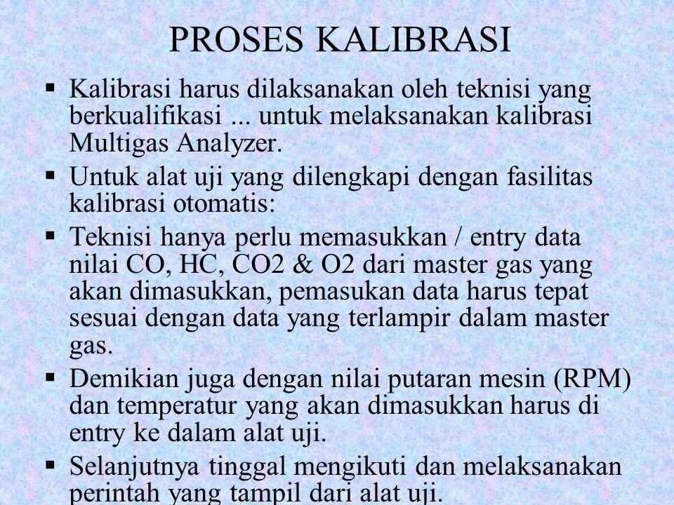 PROSES KALIBRASI  Kalibrasi harus dilaksanakan oleh teknisi yang berkualifikasi... untuk melaksanakan kalibrasi Multigas Analyzer.  Untuk alat uji y