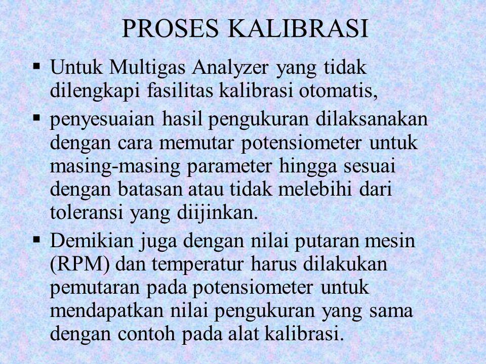 PROSES KALIBRASI  Untuk Multigas Analyzer yang tidak dilengkapi fasilitas kalibrasi otomatis,  penyesuaian hasil pengukuran dilaksanakan dengan cara