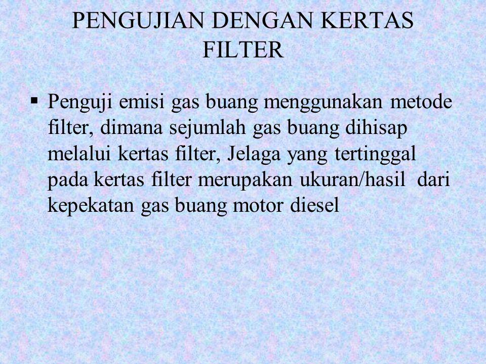 PENGUJIAN DENGAN KERTAS FILTER  Penguji emisi gas buang menggunakan metode filter, dimana sejumlah gas buang dihisap melalui kertas filter, Jelaga ya