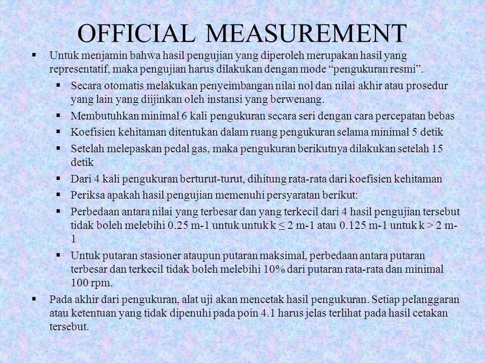 OFFICIAL MEASUREMENT  Untuk menjamin bahwa hasil pengujian yang diperoleh merupakan hasil yang representatif, maka pengujian harus dilakukan dengan m