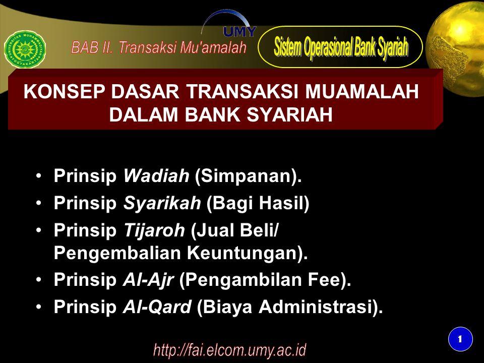 1 1 KONSEP DASAR TRANSAKSI MUAMALAH DALAM BANK SYARIAH Prinsip Wadiah (Simpanan). Prinsip Syarikah (Bagi Hasil) Prinsip Tijaroh (Jual Beli/ Pengembali
