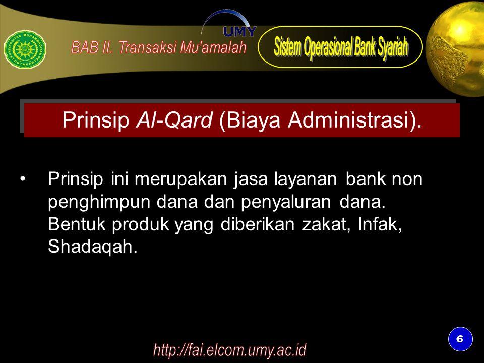 6 6 Prinsip Al-Qard (Biaya Administrasi). Prinsip ini merupakan jasa layanan bank non penghimpun dana dan penyaluran dana. Bentuk produk yang diberika