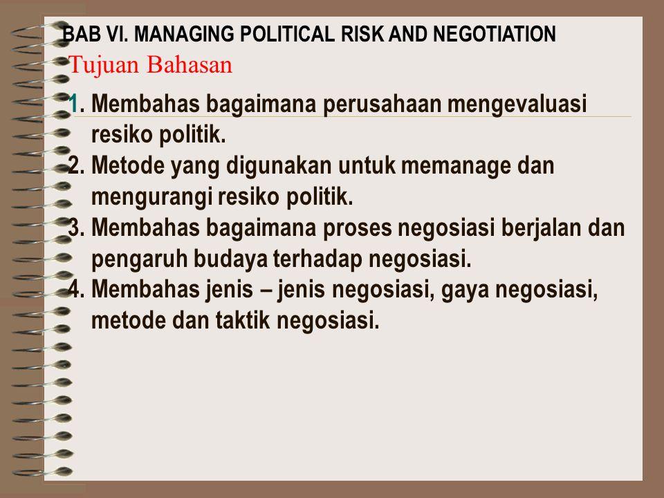 BAB VI.MANAGING POLITICAL RISK AND NEGOTIATION Tujuan Bahasan 1.