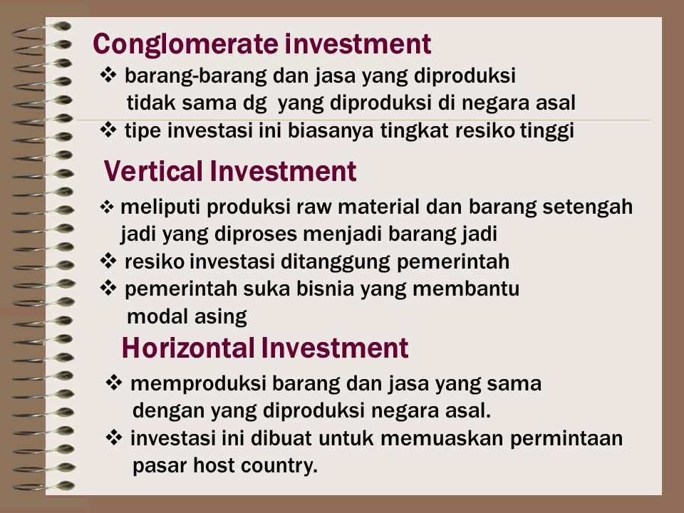 General Nature Of Investment dibagi 3:  Conglomerate Investment  Vertical Investment  Horizontal Investment