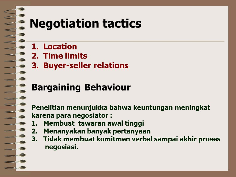 Perbedaan budaya mempengaruhi Negosiasi Negotiation Styles from a cross-cultural perspectiv Japanese Emotional sensitivity Highly valued Hiding of emo