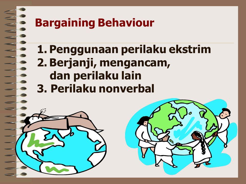 Negotiation tactics 1.Location 2.Time limits 3.Buyer-seller relations Bargaining Behaviour Penelitian menunjukka bahwa keuntungan meningkat karena para negosiator : 1.Membuat tawaran awal tinggi 2.Menanyakan banyak pertanyaan 3.Tidak membuat komitmen verbal sampai akhir proses negosiasi.