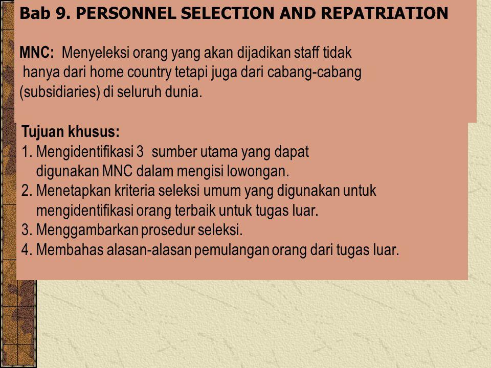 - Repatriation of Expatriates Alasan-alasan pemulangan dan pengembalian Expatriates antara lain : * Their formally agreed on tour of duty is up.