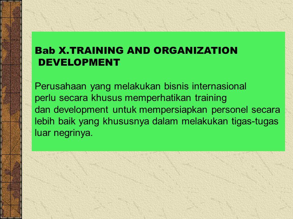 Bab X.TRAINING AND ORGANIZATION DEVELOPMENT Perusahaan yang melakukan bisnis internasional perlu secara khusus memperhatikan training dan development untuk mempersiapkan personel secara lebih baik yang khususnya dalam melakukan tigas-tugas luar negrinya.