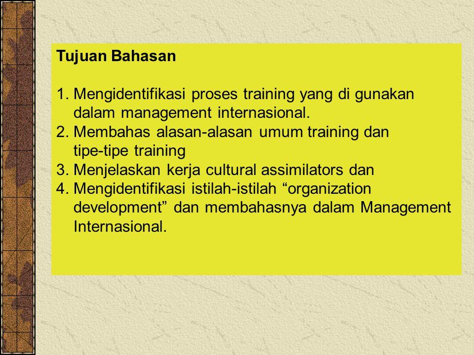 Tujuan Bahasan 1.Mengidentifikasi proses training yang di gunakan dalam management internasional.