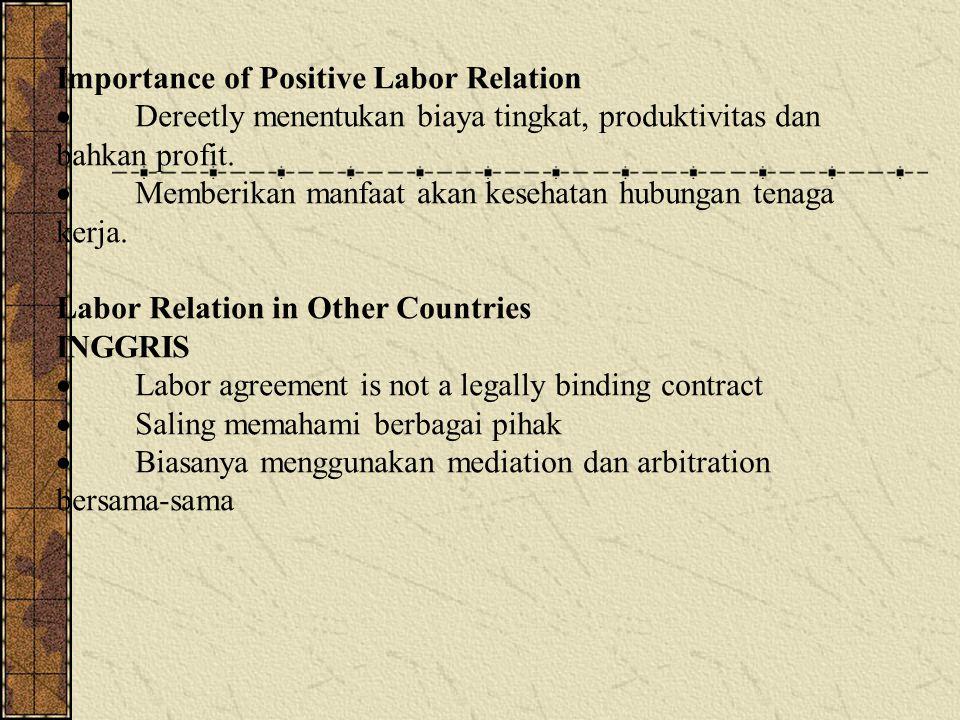 Importance of Positive Labor Relation  Dereetly menentukan biaya tingkat, produktivitas dan bahkan profit.