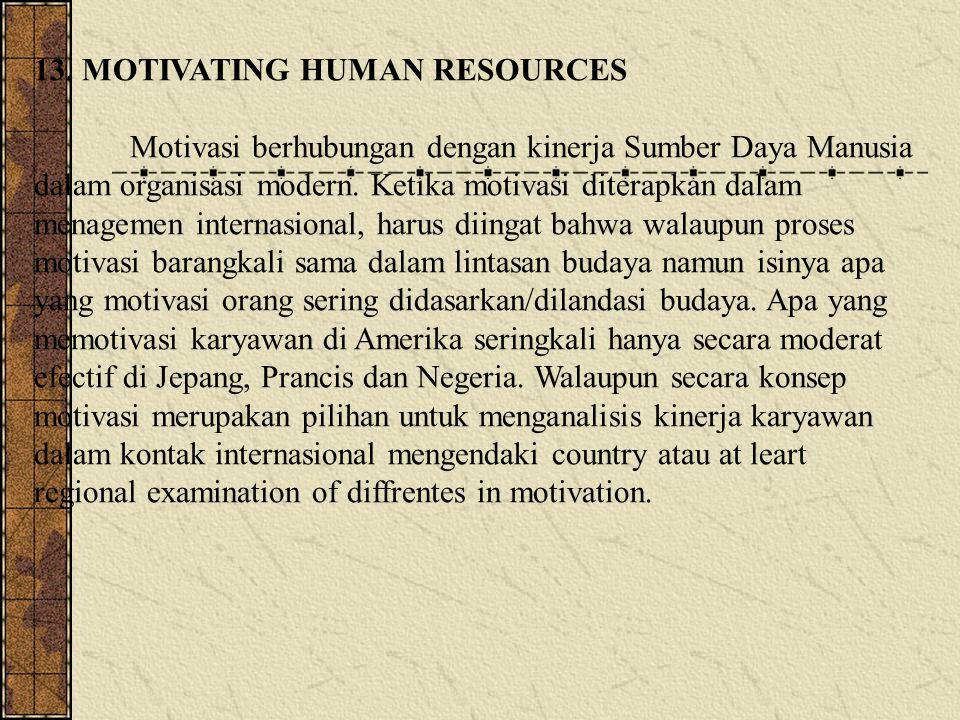 13. MOTIVATING HUMAN RESOURCES Motivasi berhubungan dengan kinerja Sumber Daya Manusia dalam organisasi modern. Ketika motivasi diterapkan dalam menag
