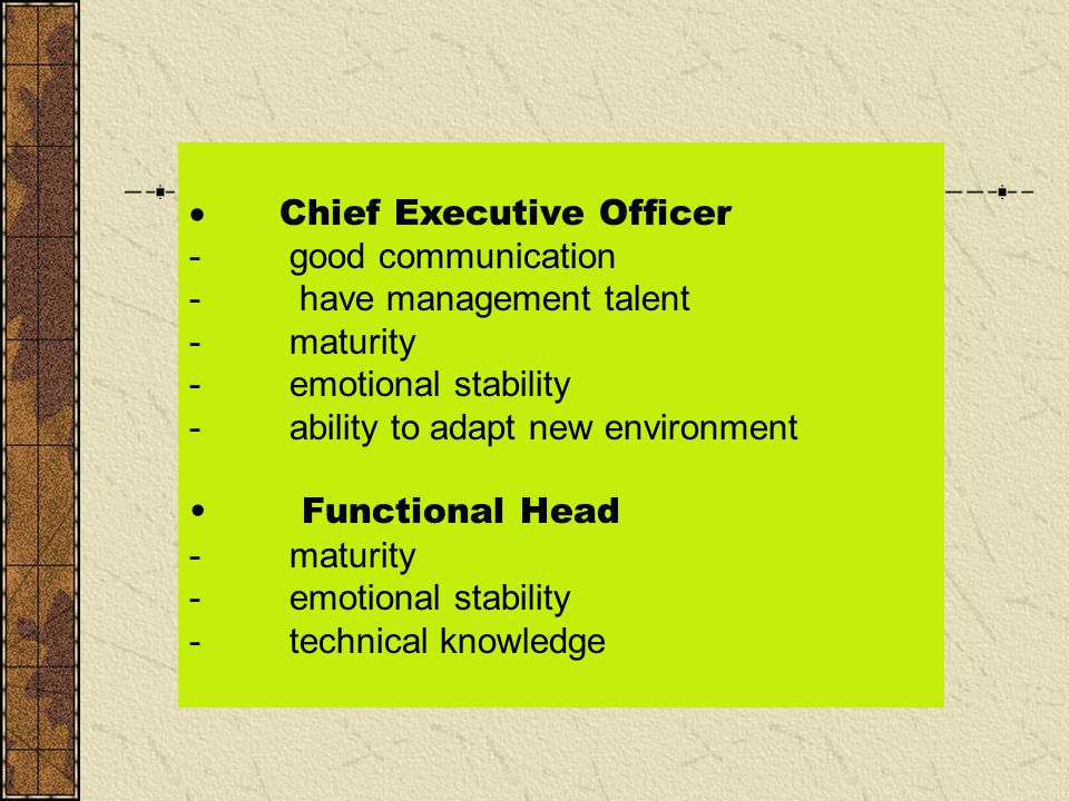  Chief Executive Officer - good communication - have management talent - maturity - emotional stability - ability to adapt new environment Functional