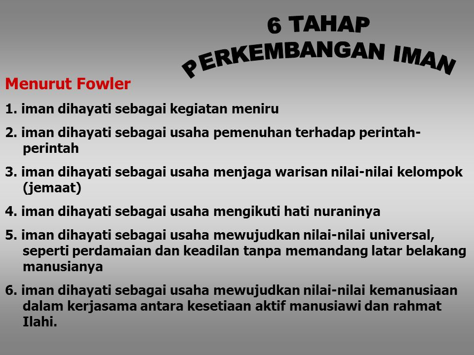 (J. Fowler) (0) Keper- cayaan Elementer awal (1) Keper- cayaan Intuitif- proyektif (2) Keper- cayaan Mistis- harfiah (3) Keper- cayaan Sintetis- Konve