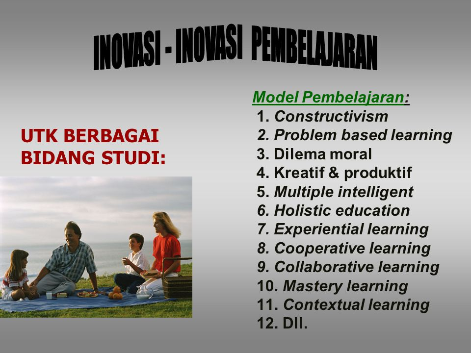 Model Pembelajaran: 1.Constructivism 2. Problem based learning 3.